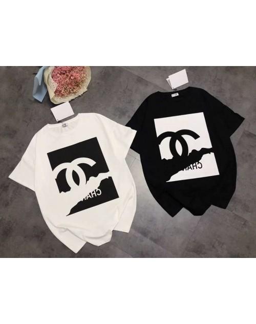 CHANEL シャネル Tシャツ 単色 半袖 ロゴ  黒白T-shirt オシャレ 若者 ブランド人気 通学 通勤 レディースおしゃれ 修身 高品質 女性ファッション 普段着 大きいサイズ 送料無料