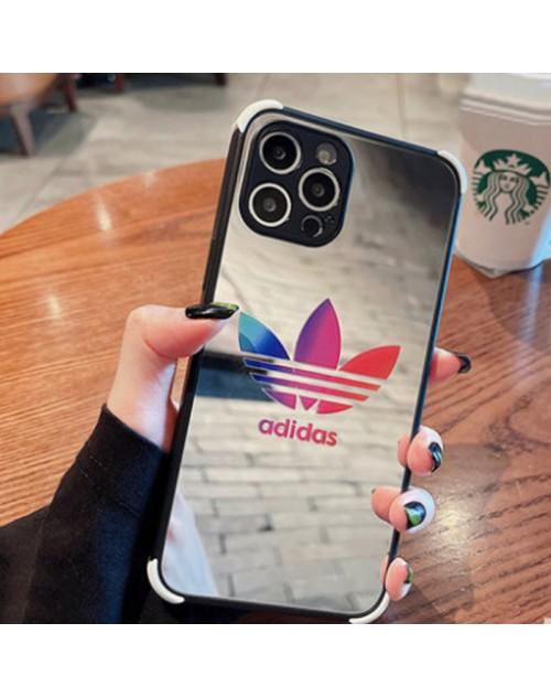 Adidas/アディダス ブランド iphone 13 mini/13 pro maxケース 人気 鏡面ガラス きらきら  アイフォン13/12/11カバー 光沢 潮流 芸能人愛用 安い メンズ レディーズ