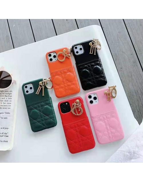 dior iPhone 11/11pro/xr/xs max/xsケース ディオール iphone x/8/7スマホケース ブランドIphone6/6s Plusカバー ジャケット カード入れ ペンダント付き