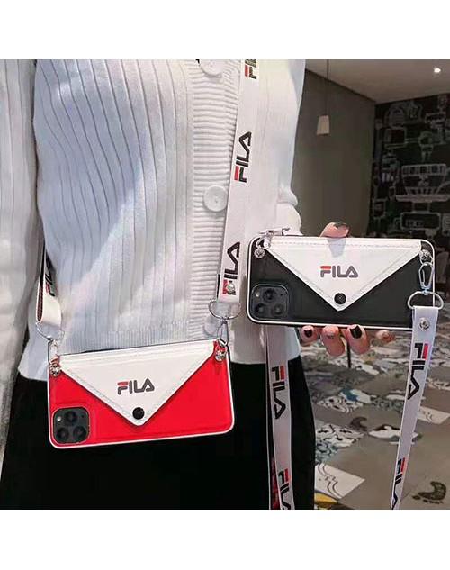 フィラ iphone11/11 pro maxケースブランドFILA iphonexr/xs  maxケース潮流 ストラップ付き アイフォン x/8/7 plusケース カードポケット付きファッションオシャレ
